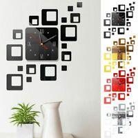 Large 3D DIY Modern Wall Clock Mirror Surface Sticker Art Design Home Decor Room