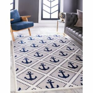 Ivory Blue Gray Coastal Area Rug Anchor Nautical 5'x8' Geometric Carpet Indoor