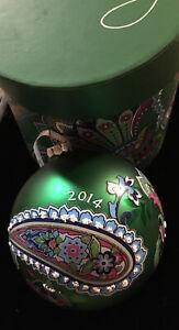Vera Bradley Christmas Ornament Emerald Paisley 2014