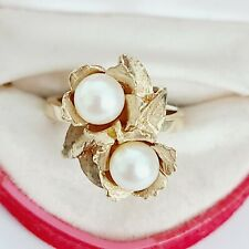 Vintage 14K Yellow Gold Flower Leaf Pearl Ring Size 6  $895