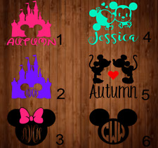 Personalized name Vinyl Decal Mickey mouse / Minnie Mouse E 3x3