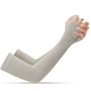 Long Arm Driving Half Finger Gloves Sleeve Sports UV Sun Protection Cover GRAY