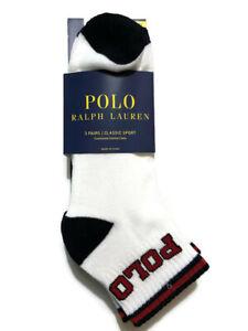 Polo Ralph Lauren Men's 3-Pack Athletic Ankle Quarter Low Sock 10-13 / Shoe 6-12