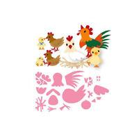 Stanzschablone Hahn Henne Küken Weihnachten Geburtstag Hochzeit Karte Album Deko