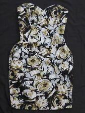 New Women's Motel Rocks Wanda Tube Top Dress Ivory Black & Green Roses Size XS
