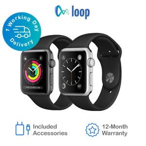 Apple Watch Series 3 - 38mm/42mm - All Case Colours - Black Sport Band