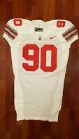 #90 White Game Worn Ohio State Buckeyes Football Jersey - Size 52 - Nike Team