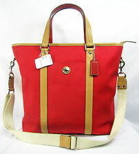 COACH F77125 RED Voyage Canvas Cross Body Hand Shoulder Weekender Bag Women Lady