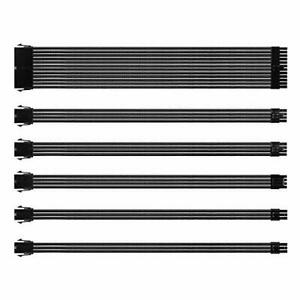 Black Sleeved Cable PSU Extension Cable Kit with 24-PIN 8-PIN 6-PIN 4+4-PIN S...