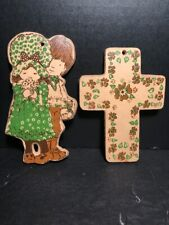 Lot of 2 Rare Vintage Holly Hobby wall decoration plaques cross and characters