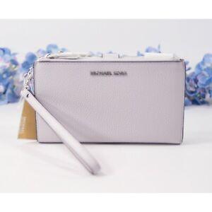 Michael Kors Lavender Mist Pebbled Leather Phone Travel Wallet Wristlet NWT