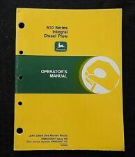 Genuine John Deere 610 Series Drawn Chisel Plow Operators Manual Nice Shape