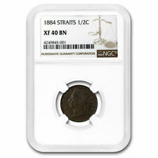 1884 Straits Settlements AE 1/2 Cent Victoria XF-40 NGC (Brown) - SKU#210468