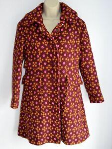 Welsh Wool Tapestry Burgundy Orange Pink Coat Size UK 10