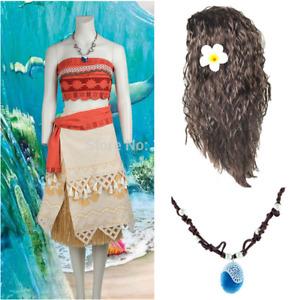 Cosplay Moana Costume Hawaiian Princess Fancy Party Dress&Necklace Adult KIDS