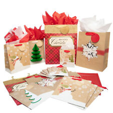 20pk Hallmark Kraft Paper Winter Holiday Christmas Gift Bags With Handles Tissue