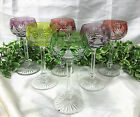 A Set of Six Vintage Tinted Bohemian Cut Glass Cut to Clear Hock Glasses