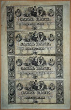 Canal Bank, New Orleans Uncut sheet of 4 x $50 18xx Series A, B, C and D