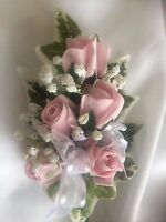 *NEW*  Ladies  Wedding Corsage, Pink Roses , Gyp  Ribbons & Gyp