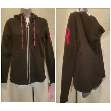 New IDEOLOGY Breast Cancer Pink Ribbon Full Zip Black Hoodie Women's S Small