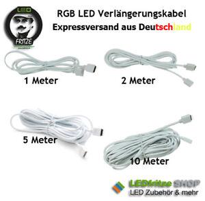 LED RGB Verlängerung - Kabel 1m 2m 5m 10m 1, 2 ,5,10 Meter 4 adrig 4 adern weiß