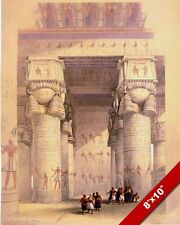 TEMPLE OF DENDERA PORTICO ANCIENT EGYPTIAN RUINS PAINTING ART REAL CANVAS PRINT