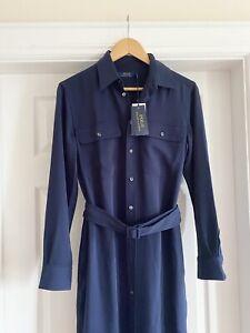Polo Ralph Lauren Navy Shirt Dress NEW US 8/ UK 10 Long Sleeves 💕