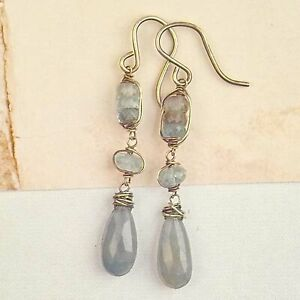 AQUAMARINE With COPPER & Blue Grey SAPPHIRE Briolette Earrings Sterling Silver