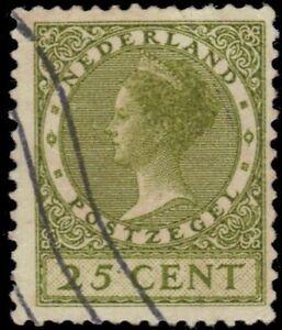 """NETHERLANDS 187 (Mi187A) - Queen Wilhelmina """"1927 Olive Bistre"""" (pa86228)"""