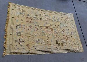 Vintage Handmade Kilim Rug 9' x 6' ft. Moroccan Beni Ourain Yellow Woven