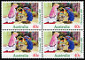 1992 Christmas 40c Children's Nativity Play Block of 4 MUH Mint Stamps Australia