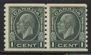 Canada 1933 1c Dark Green George V Coil Pair Sc# 205 NH