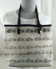 Harrods PVC Tote Purse Black and White with Zipper Top Handbag