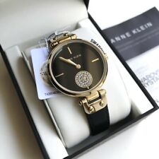 Anne Klein Watch * 3380BKBK Swarovski Gold & Black Leather Bracelet for Women
