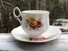 Royal Crest Fine Bone China Vintage Teacup Gold Trim Yellow Pink Roses England