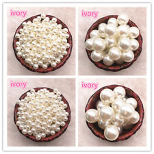 NEW NO Holes White Ivory Round Imitation Plastic Pearl Spacer Beads