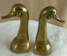 """LARGE Vintage Solid Brass Duck Mallard Decoy Bookends 10"""" tall"""