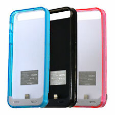Mota Battery Case for iPhone 5 5s 2400 mAh Clear Frame Phone Charger Case Pink