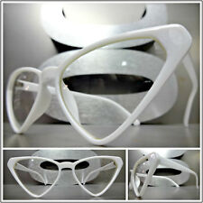 Women's CLASSIC VINTAGE Funky RETRO CAT EYE Style EYE GLASSES Unique White Frame