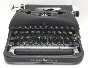 1940's Art Deco Remington Rand Deluxe Model 5 Typewriter with Black Case VTG