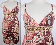 New Dolce&Gabbana sz 42 / US 4 -6 floral brown dress embellished pearl crystal