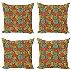 Ambesonne Fruits Cushion Cover Set of 4 for Couch and Bed in 4 Sizes