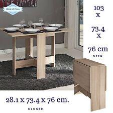 Drop Leaf Table Console Oak Swivel Legs Folding Dining Table 2 Drawers Modern
