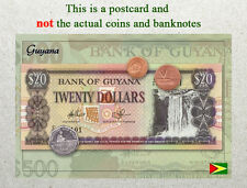 Postcard: Guyana Circulating Coins and Currency (Banknote) 2013