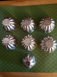 Set Of 6 +1 Vintage Aluminum Jello Molds Tins word JELLO is part of Mold in set