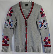 MADELEINE Cashmere Wool Blend Cardigan Sweater Gray UK 10/12 US 8/10 Floral