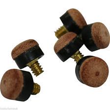 6 X 12mm Screw In Cue Tips Snooker Pool Billards Brown Equipment Empire NEW