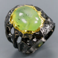 Prehnite Ring Silver 925 Sterling Fine Art Jewelry Size 9 /R137640