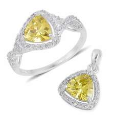 """STERLING SILVER SIMULATE YELLOW DIAMOND RING 8  NECKLACE SET 18"""" CHAIN TRIANGLE"""