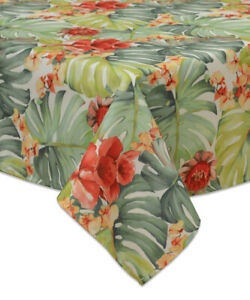"""BARDWELL HOME INDOOR/ OUTDOOR Green Amazon Leaf Tablecloth 60"""" X 120"""" OBLONG"""